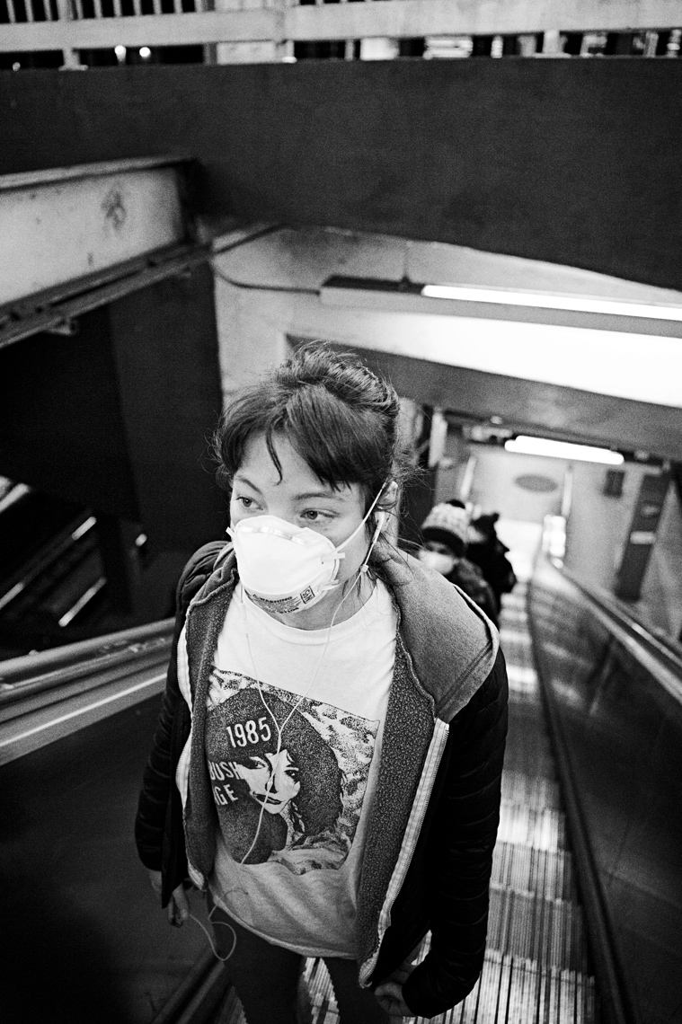 Nurse Cady Commuting to Work, Covid-19, NYC, 2020Nurse Cady Chaplin commuting to